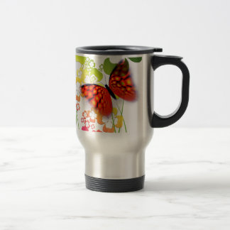 cool colourful butterfly and  clovers travel mug