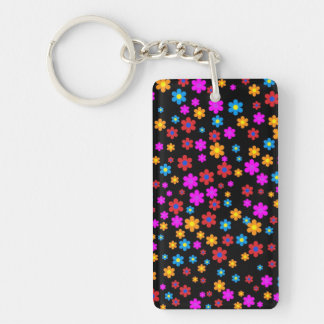 Cool colourful floral flowers pattern background keychain