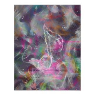 Cool colourful glow smoke effects white music note card