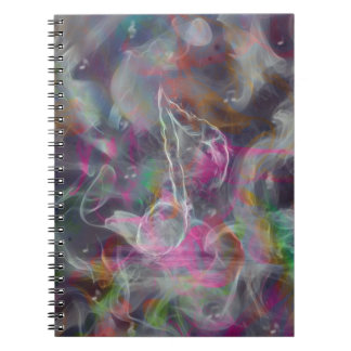 Cool colourful glow smoke effects white music note notebook