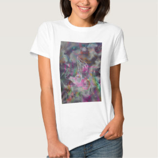 Cool colourful glow smoke effects white music note t-shirt