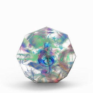 Cool colourful music notes smoke effects image acrylic award