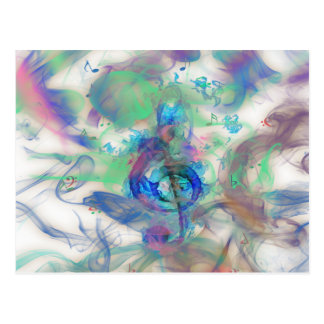 Cool colourful music notes smoke effects image post cards