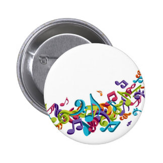 cool colourful music notes & sounds 2 inch round button
