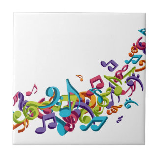 cool colourful music notes & sounds art image ceramic tile