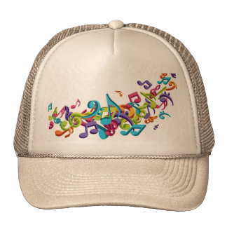 cool colourful music notes & sounds trucker hat