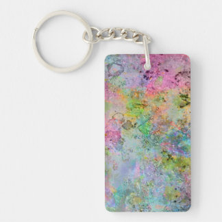 Cool colourful neon colours abstract marble image Double-Sided rectangular acrylic keychain