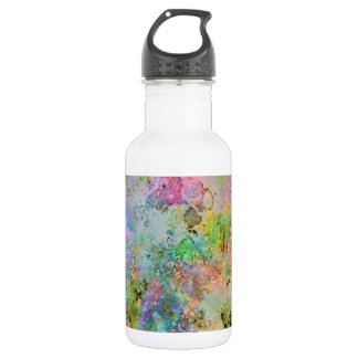 Cool colourful neon colours abstract marble image stainless steel water bottle