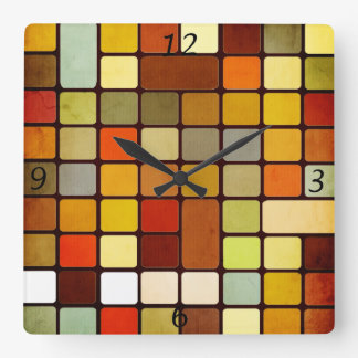 Cool colourful squares and rectangles round corner square wall clock