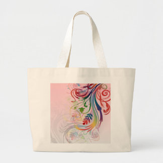 Cool colourful summer colours swirls flowers jumbo tote bag