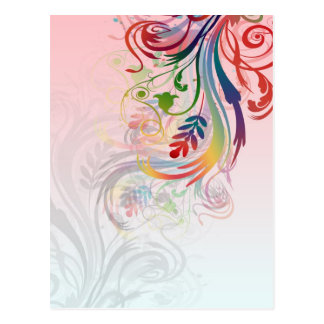 Cool colourful summer colours swirls flowers postcard