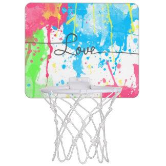Cool colourful vibrant watercolours Love word Mini Basketball Backboard