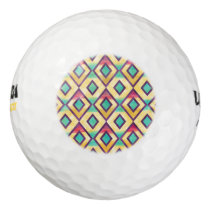 Cool colourful watercolor diamond shapes pattern golf balls