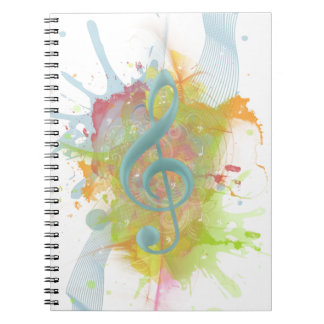Cool colourful watercolour splatters music notes notebook