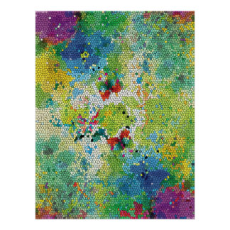 Cool colourful watercolours stained glass effects poster