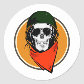 Cool Combat Skull Classic Round Sticker