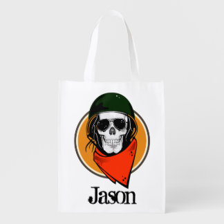 Cool Combat Skull Personalized Reusable Grocery Bag