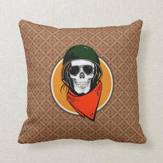 Cool Combat Skull Throw Pillow