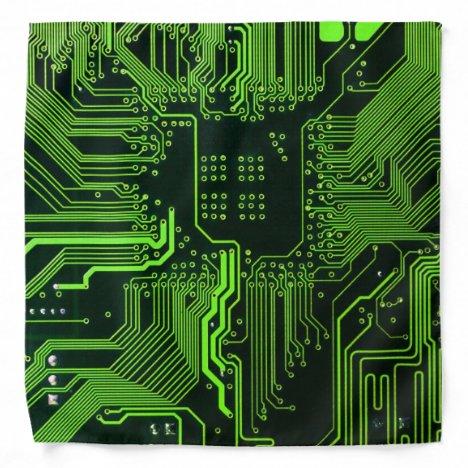 Cool Computer Circuit Board - Green Bandana
