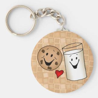 Cool Cookies and Milk Friends Cartoon Basic Round Button Keychain