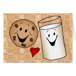 Cool Cookies and Milk Friends Cartoon Greeting Card