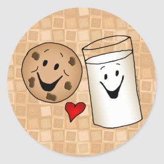 Cool Cookies and Milk Friends Cartoon Classic Round Sticker