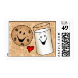 Cool Cookies and Milk Friends Cartoon Postage Stamps