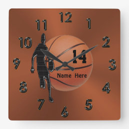 Cool Copper Colored Personalized Basketball Clocks