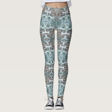 Beach Themed Cool Coral Kaleidoscope Patterned Leggings