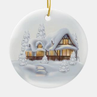 Cool Cottage Ceramic Round Ornament