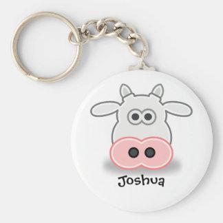 Cool cow basic round button keychain