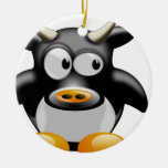 Cool cow Double-Sided ceramic round christmas ornament