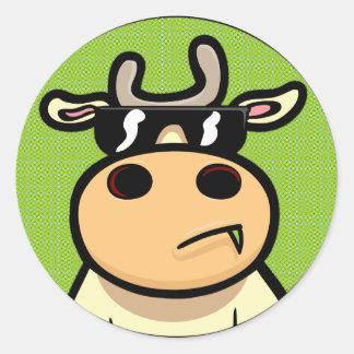 Cool Cow Round Sticker
