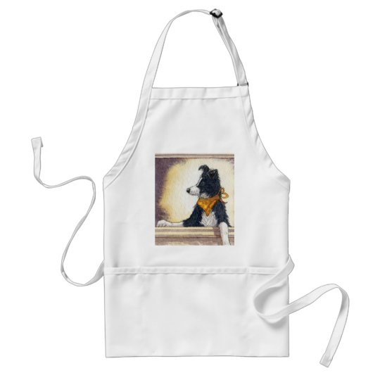 Cool cowboy collie carefully keeps an eye... adult apron