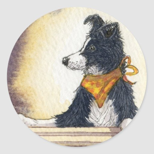 Cool cowboy collie carefully keeps an eye... round stickers