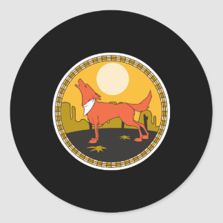 cool coyote circle design classic round sticker
