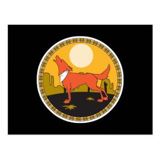 cool coyote circle design postcard
