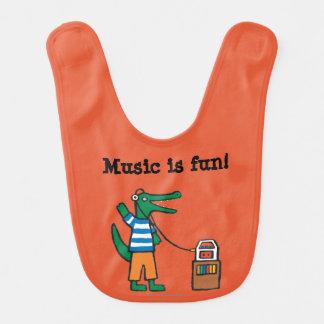 Cool Crocodile Listens to Music Baby Bib
