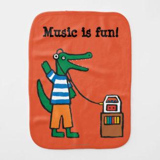 Cool Crocodile Listens to Music Burp Cloth