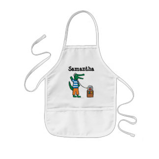Cool Crocodile Listens to Music Kids' Apron