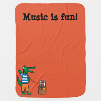 Cool Crocodile Listens to Music Swaddle Blanket
