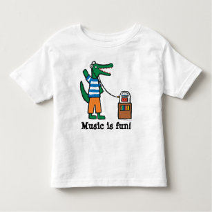 7f300d96acd Cool Crocodile Listens to Music Toddler T-shirt