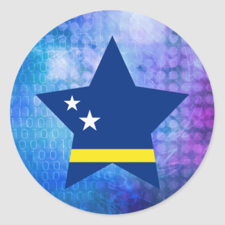 Cool Curacao Flag Star Classic Round Sticker