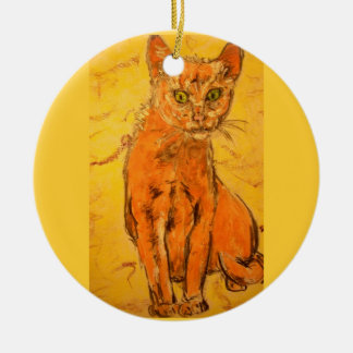 cool curious cat design Double-Sided ceramic round christmas ornament