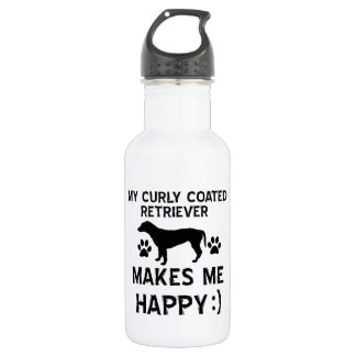 Cool Curly Coated Retriever dog breed designs 18oz Water Bottle