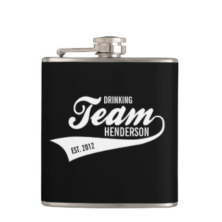 Cool Custom Family Team Name Retro Sports Logo Hip Flask