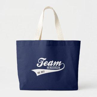 Cool Custom Family Team Name Retro Sports Logo Large Tote Bag