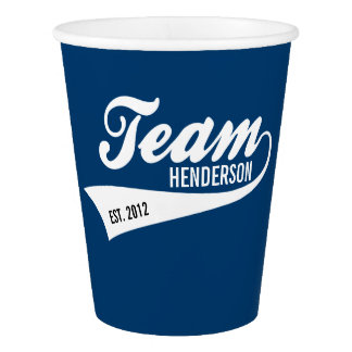 Cool Custom Family Team Name Retro Sports Logo Paper Cup