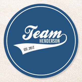 Cool Custom Family Team Name Retro Sports Logo Round Paper Coaster