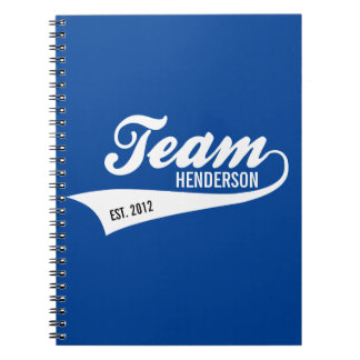 Cool Custom Family Team Name Retro Sports Logo Spiral Notebook